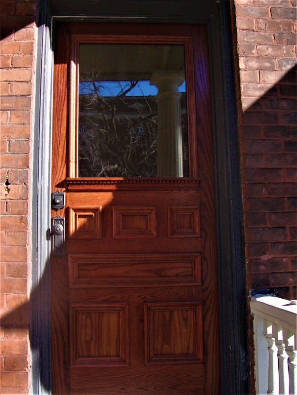 Reproduction Centretown White Oak Entrance Door, insulated panels and glazing
